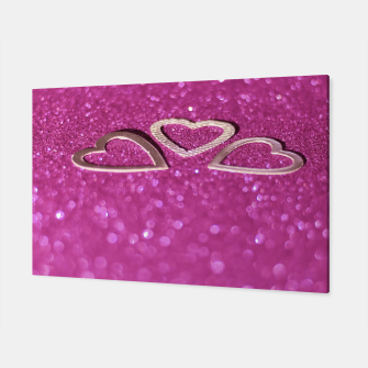 Miniatur Silver Metallic Hearts Design Canvas, Live Heroes