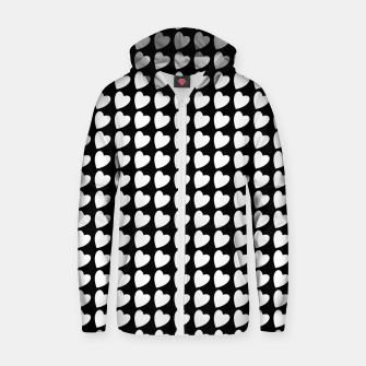 Thumbnail image of Heart Pattern Black and White Zip up hoodie, Live Heroes