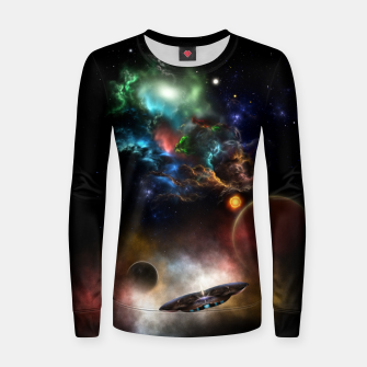 Thumbnail image of Beyond Space & Time Fractal Art II On Black Women sweater, Live Heroes