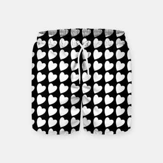 Thumbnail image of Heart Pattern Black and White Swim Shorts, Live Heroes