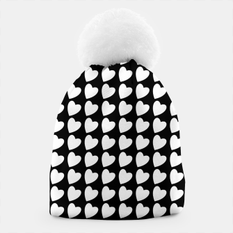 Thumbnail image of Heart Pattern Black and White Beanie, Live Heroes