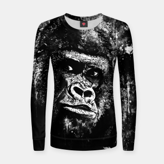 Thumbnail image of gorilla monkey face expression wsbw Women sweater, Live Heroes
