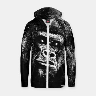 Thumbnail image of gorilla monkey face expression wsbw Zip up hoodie, Live Heroes