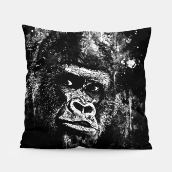 Thumbnail image of gorilla monkey face expression wsbw Pillow, Live Heroes