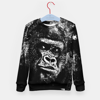 Thumbnail image of gorilla monkey face expression wsbw Kid's sweater, Live Heroes