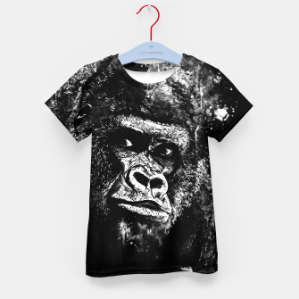Thumbnail image of gorilla monkey face expression wsbw Kid's t-shirt, Live Heroes