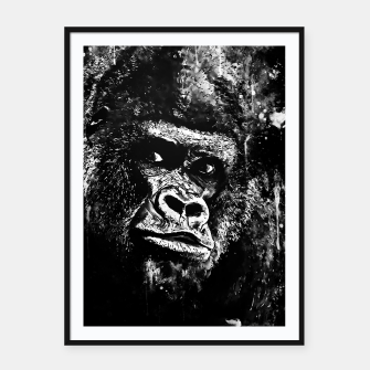 Thumbnail image of gorilla monkey face expression wsbw Framed poster, Live Heroes
