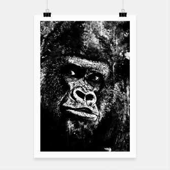 Thumbnail image of gorilla monkey face expression wsbw Poster, Live Heroes