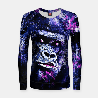 Thumbnail image of gorilla monkey face expression wscb Women sweater, Live Heroes