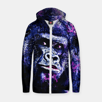 Thumbnail image of gorilla monkey face expression wscb Zip up hoodie, Live Heroes