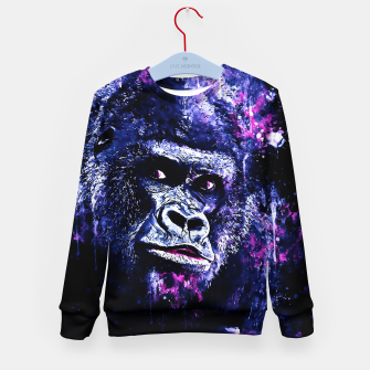 Thumbnail image of gorilla monkey face expression wscb Kid's sweater, Live Heroes