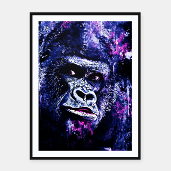 Thumbnail image of gorilla monkey face expression wscb Framed poster, Live Heroes