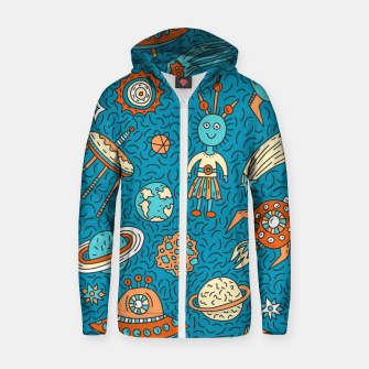 Thumbnail image of Space Freak UFOs Zip up hoodie, Live Heroes