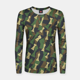 Thumbnail image of Chess Camo WOODLAND Women sweater, Live Heroes