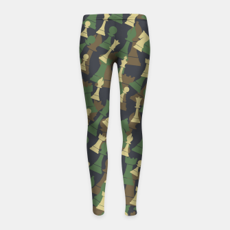 Thumbnail image of Chess Camo WOODLAND Girl's leggings, Live Heroes