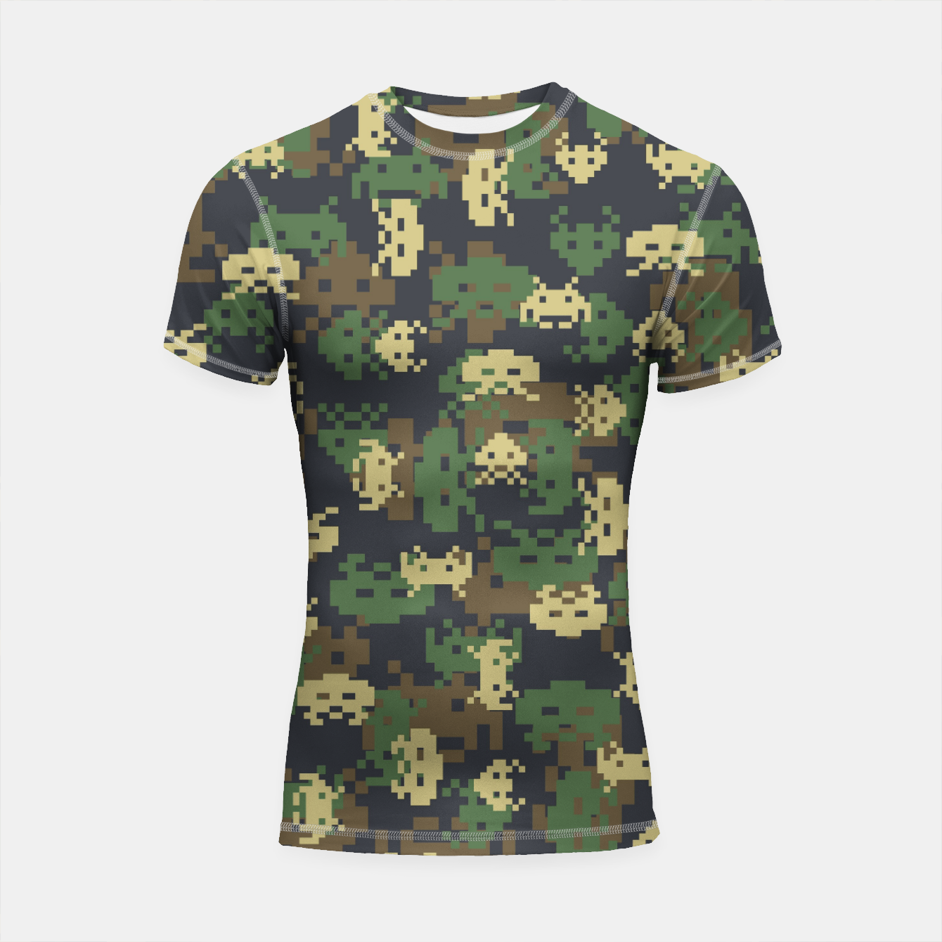 Image of Invaded Camo WOODLAND Gamer Shortsleeve rashguard - Live Heroes