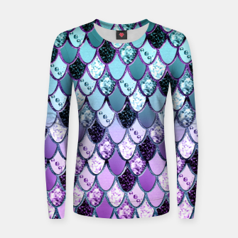 Thumbnail image of Purple Teal Mermaid Princess Glitter Scales #1 #shiny #decor #art  Frauen sweatshirt, Live Heroes
