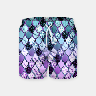 Thumbnail image of Purple Teal Mermaid Princess Glitter Scales #1 #shiny #decor #art  Badeshorts, Live Heroes