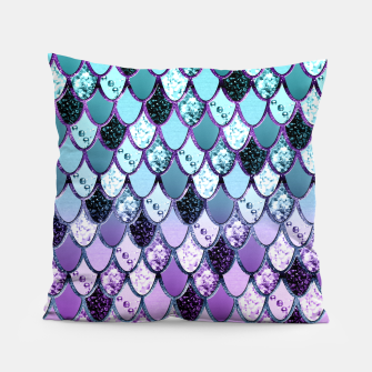 Thumbnail image of Purple Teal Mermaid Princess Glitter Scales #1 #shiny #decor #art  Kissen, Live Heroes
