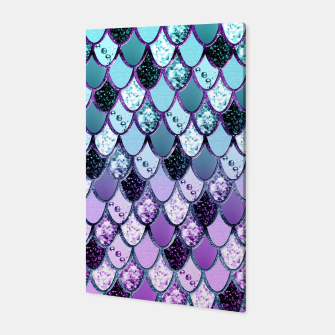 Thumbnail image of Purple Teal Mermaid Princess Glitter Scales #1 #shiny #decor #art  Canvas, Live Heroes