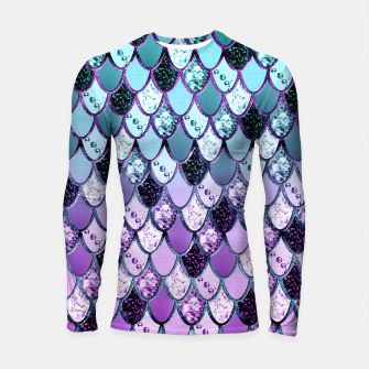 Thumbnail image of Purple Teal Mermaid Princess Glitter Scales #1 #shiny #decor #art  Longsleeve rashguard, Live Heroes