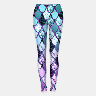 Thumbnail image of Purple Teal Mermaid Princess Glitter Scales #1 #shiny #decor #art  Leggings, Live Heroes
