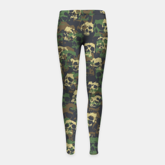 Thumbnail image of Skull Camo WOODLAND Girl's leggings, Live Heroes