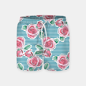 Thumbnail image of Pink Roses Strips Swim Shorts, Live Heroes