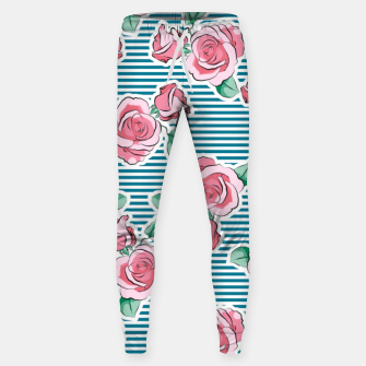 Thumbnail image of Pink Roses Strips Sweatpants, Live Heroes