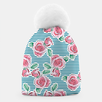 Thumbnail image of Pink Roses Strips Beanie, Live Heroes