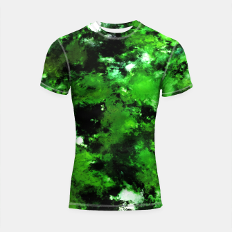 Thumbnail image of Green deflected Shortsleeve rashguard, Live Heroes