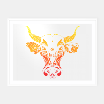 Thumbnail image of Angry cattle in the wind by #Bizzartino Framed poster, Live Heroes