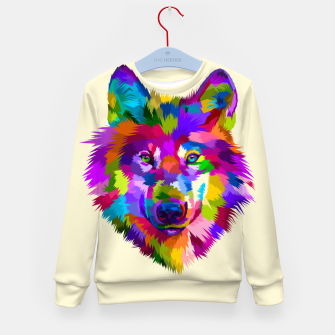 Thumbnail image of Colorful Wolf Head Kid's sweater, Live Heroes