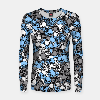 Blue skulls camouflage Women sweater thumbnail image