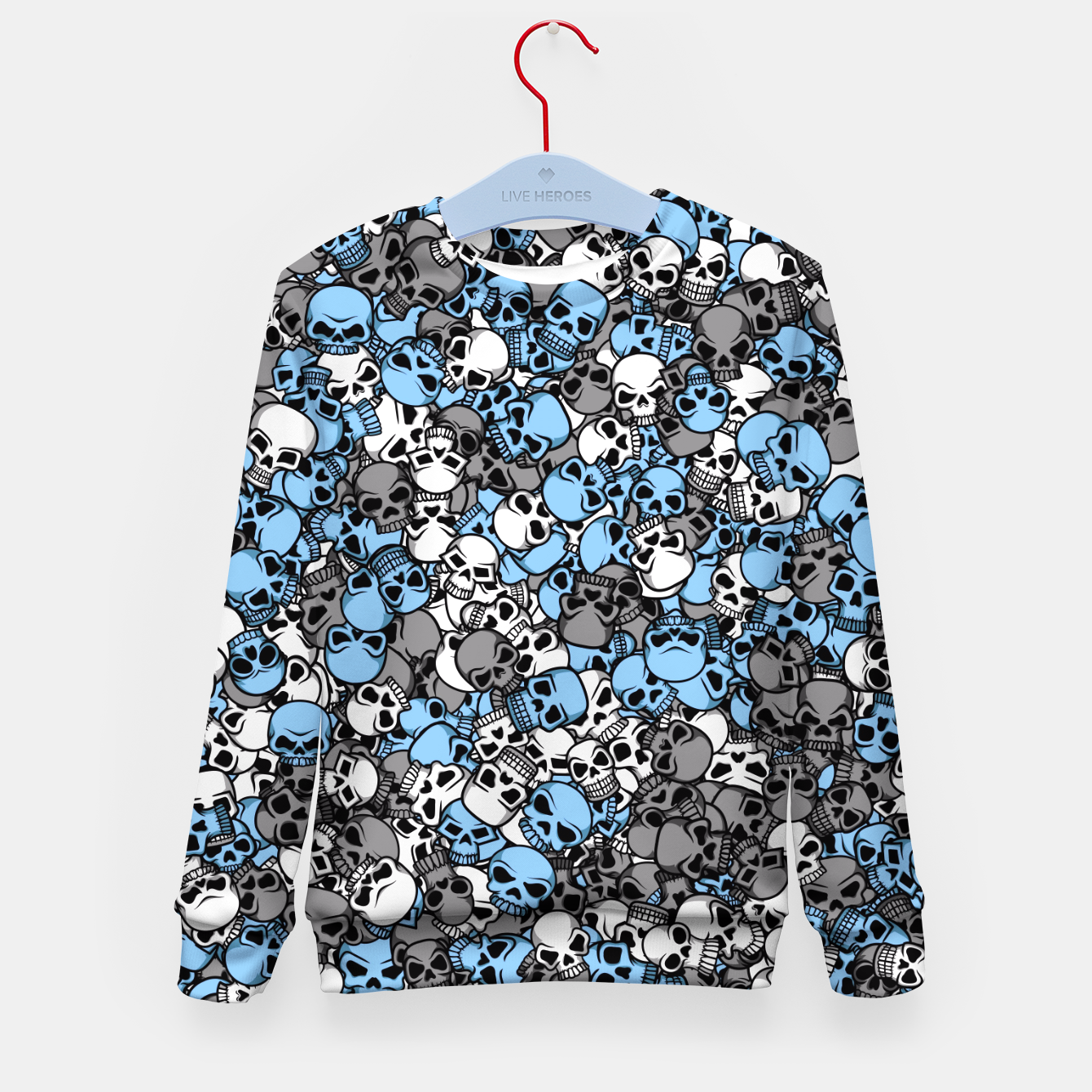 Image of Blue skulls camouflage Kid's sweater - Live Heroes