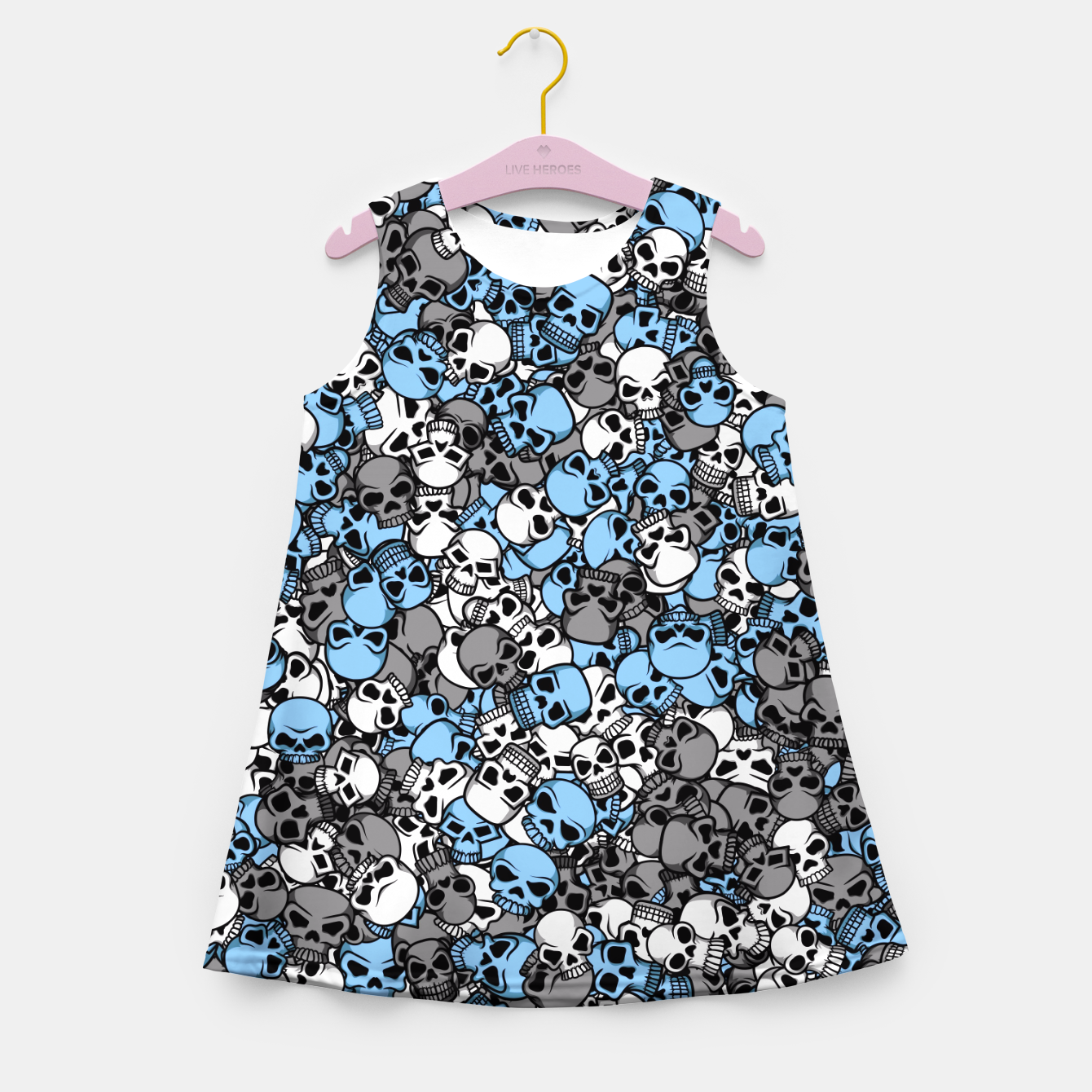 Image of Blue skulls camouflage Girl's summer dress - Live Heroes