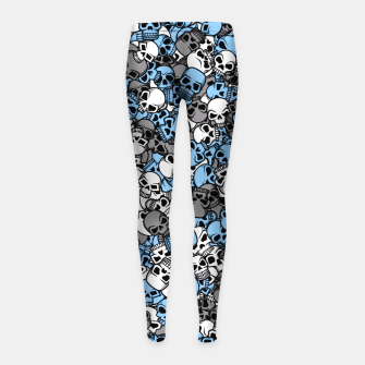Thumbnail image of Blue skulls camouflage Girl's leggings, Live Heroes