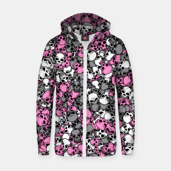 Pink skulls camouflage Zip up hoodie miniature