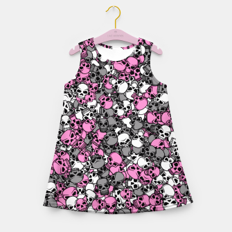 Pink skulls camouflage Girl's summer dress thumbnail image