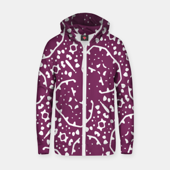 Thumbnail image of Magenta and White Abstract Print Pattern Zip up hoodie, Live Heroes