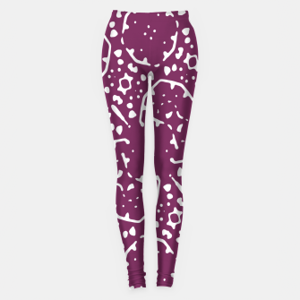 Thumbnail image of Magenta and White Abstract Print Pattern Leggings, Live Heroes