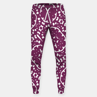 Thumbnail image of Magenta and White Abstract Print Pattern Sweatpants, Live Heroes