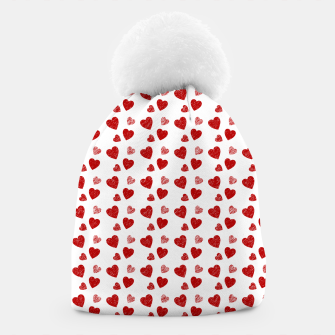 Thumbnail image of Red Hearts Pattern  Beanie, Live Heroes