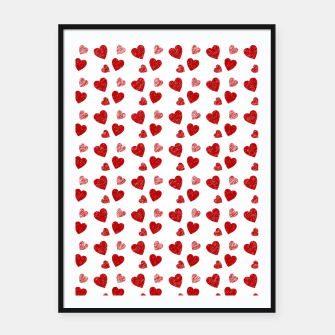 Thumbnail image of Red Hearts Pattern  Framed poster, Live Heroes
