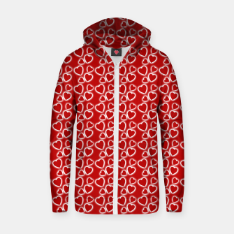 Red Glowing hearts pattern Zip up hoodie obraz miniatury