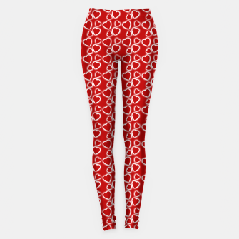 Red Glowing hearts pattern Leggings obraz miniatury