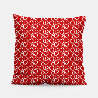 Red Glowing hearts pattern Pillow obraz miniatury