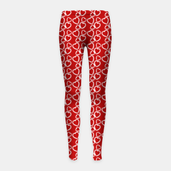 Red Glowing hearts pattern Girl's leggings obraz miniatury