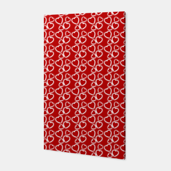 Red Glowing hearts pattern Canvas obraz miniatury