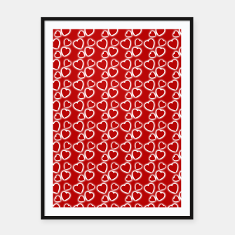 Red Glowing hearts pattern Framed poster obraz miniatury